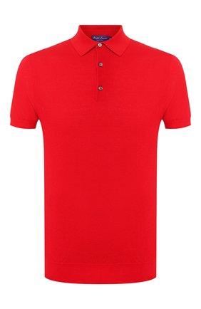 Мужское поло из смеси шелка и хлопка RALPH LAUREN красного цвета, арт. 790799228   Фото 1
