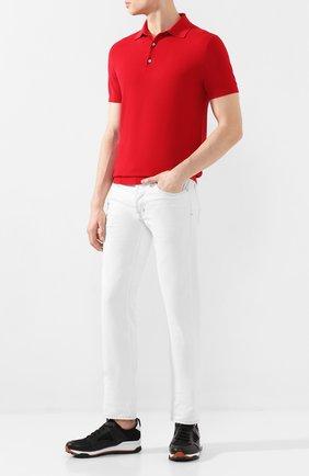 Мужское поло из смеси шелка и хлопка RALPH LAUREN красного цвета, арт. 790799228   Фото 2