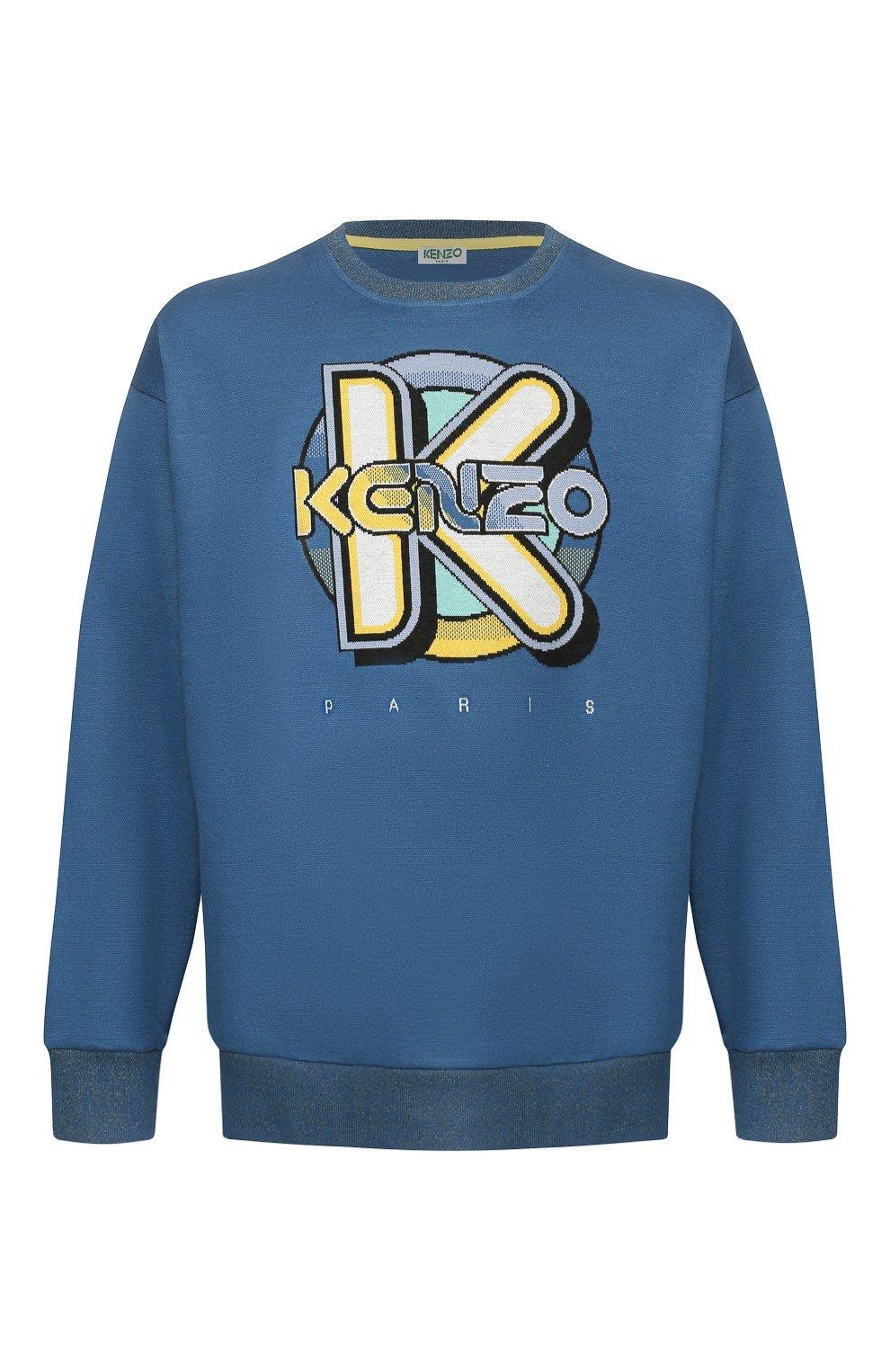 Мужской хлопковый свитшот KENZO темно-синего цвета, арт. FA55SW5014DD | Фото 1