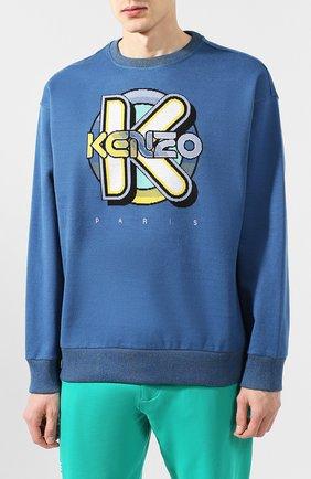 Мужской хлопковый свитшот KENZO темно-синего цвета, арт. FA55SW5014DD | Фото 3