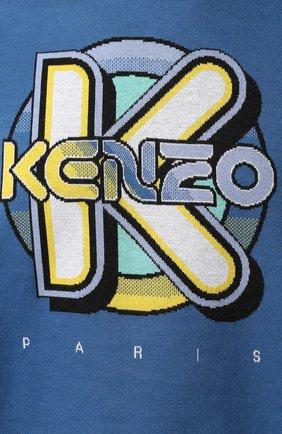 Мужской хлопковый свитшот KENZO темно-синего цвета, арт. FA55SW5014DD | Фото 5