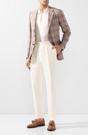 Мужские шелковые брюки RALPH LAUREN белого цвета, арт. 798794572 | Фото 2