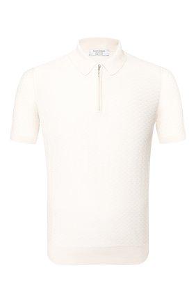 Мужское шелковое поло GRAN SASSO белого цвета, арт. 43135/23505 | Фото 1
