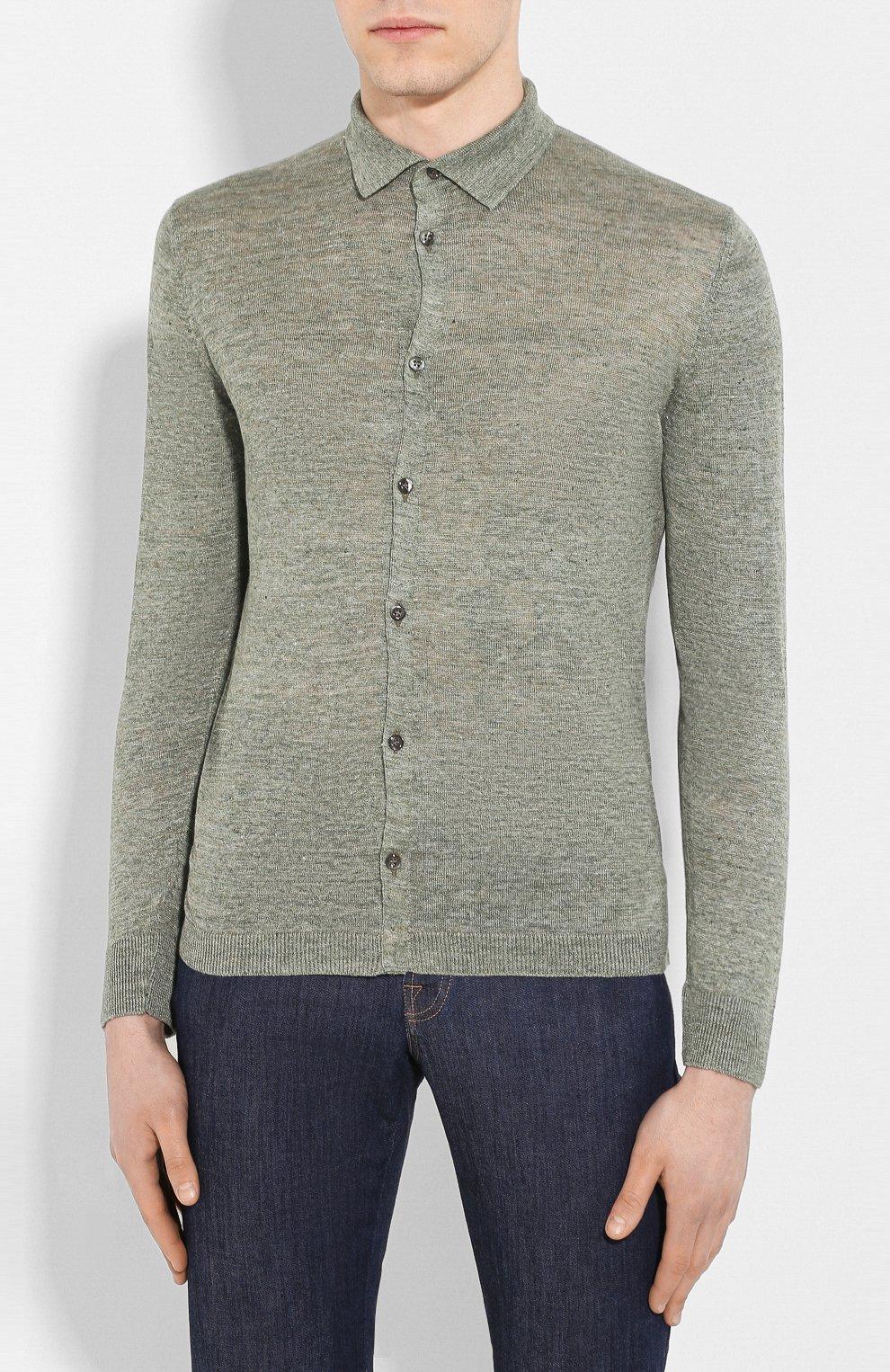 Мужская льняная рубашка ANDREA CAMPAGNA зеленого цвета, арт. 57103/24806 | Фото 3
