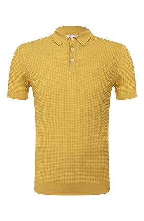 Мужское хлопковое поло GRAN SASSO желтого цвета, арт. 57126/20635   Фото 1 (Материал внешний: Хлопок; Длина (для топов): Стандартные; Рукава: Короткие; Застежка: Пуговицы)