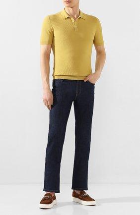 Мужское хлопковое поло GRAN SASSO желтого цвета, арт. 57126/20635   Фото 2 (Материал внешний: Хлопок; Длина (для топов): Стандартные; Рукава: Короткие; Застежка: Пуговицы)
