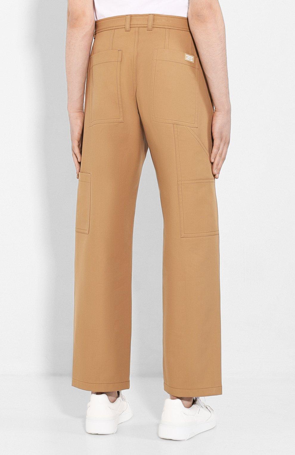 Мужские хлопковые брюки BURBERRY коричневого цвета, арт. 4563534 | Фото 4