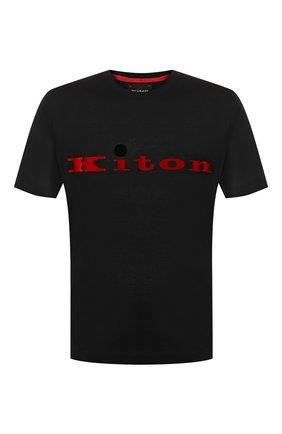 Мужская хлопковая футболка KITON черного цвета, арт. UK1164   Фото 1
