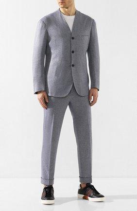 Мужской костюм из смеси хлопка и кашемира KNT синего цвета, арт. UAS0105K06S43 | Фото 1