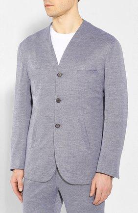 Мужской костюм из смеси хлопка и кашемира KNT синего цвета, арт. UAS0105K06S43 | Фото 2