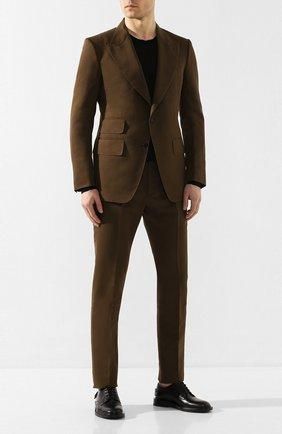 Мужской костюм из смеси хлопка и шелка TOM FORD хаки цвета, арт. 774R24/25ML4N | Фото 1