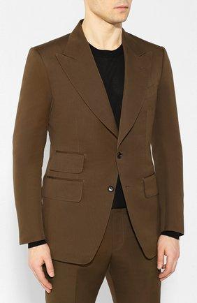 Мужской костюм из смеси хлопка и шелка TOM FORD хаки цвета, арт. 774R24/25ML4N | Фото 2