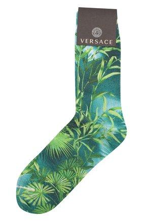 Мужские хлопковые носки VERSACE зеленого цвета, арт. ICZ0003/A234901 | Фото 1
