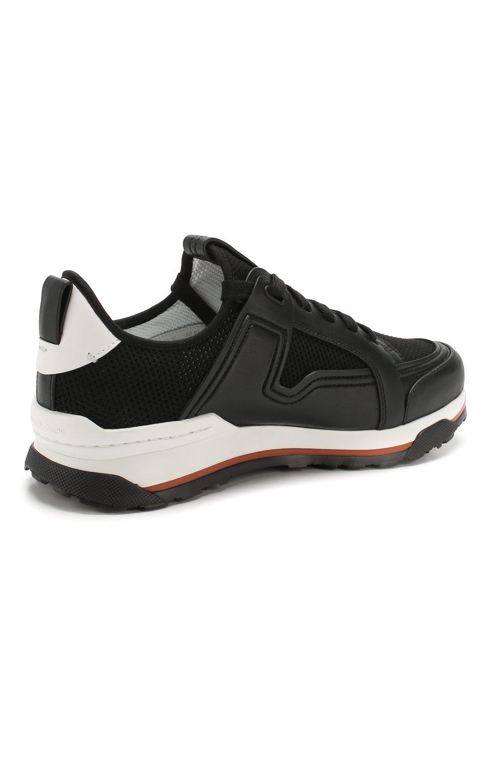 Мужские комбинированные кроссовки ERMENEGILDO ZEGNA черного цвета, арт. A4402X-LHNAF   Фото 4