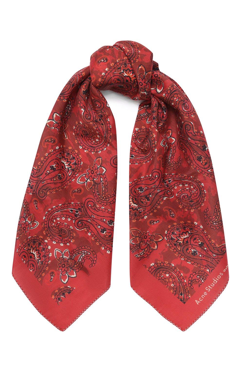 Женский платок из смеси хлопка и шелка ACNE STUDIOS красного цвета, арт. CA0042/W | Фото 1
