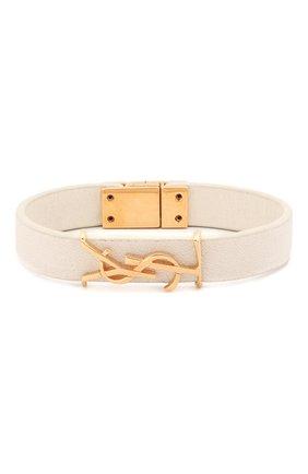 Женская кожаный браслет SAINT LAURENT белого цвета, арт. 559355/05B3J | Фото 1