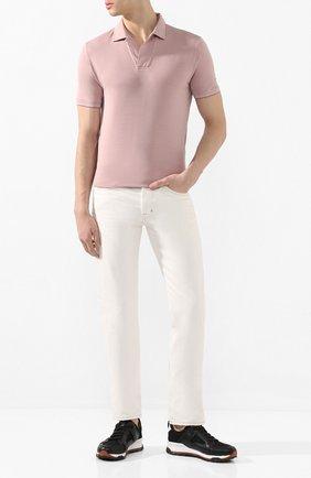 Мужское поло из смеси хлопка и шелка LORO PIANA светло-розового цвета, арт. FAL3407 | Фото 2