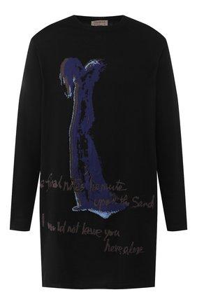 Мужской хлопковый свитер YOHJI YAMAMOTO черного цвета, арт. HN-K15-099 | Фото 1