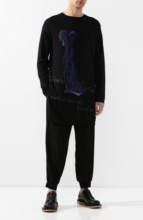Мужской хлопковый свитер YOHJI YAMAMOTO черного цвета, арт. HN-K15-099 | Фото 2