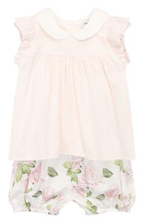 Детские комплект из топа и шорт MONNALISA розового цвета, арт. 315501 | Фото 1