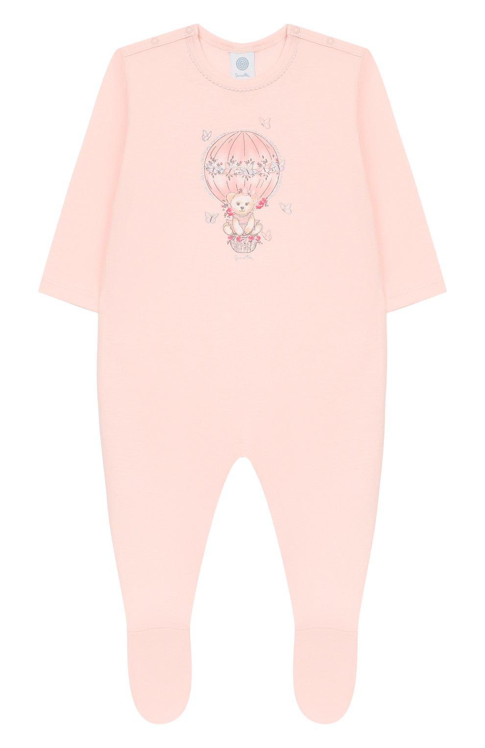 Детский хлопковый комбинезон SANETTA розового цвета, арт. 221521 3990 | Фото 1