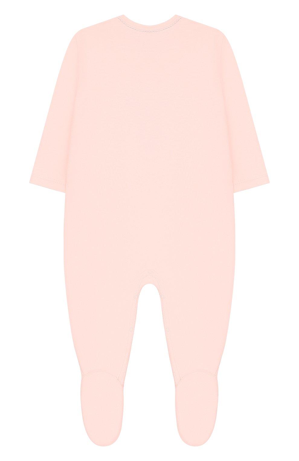 Детский хлопковый комбинезон SANETTA розового цвета, арт. 221521 3990 | Фото 2
