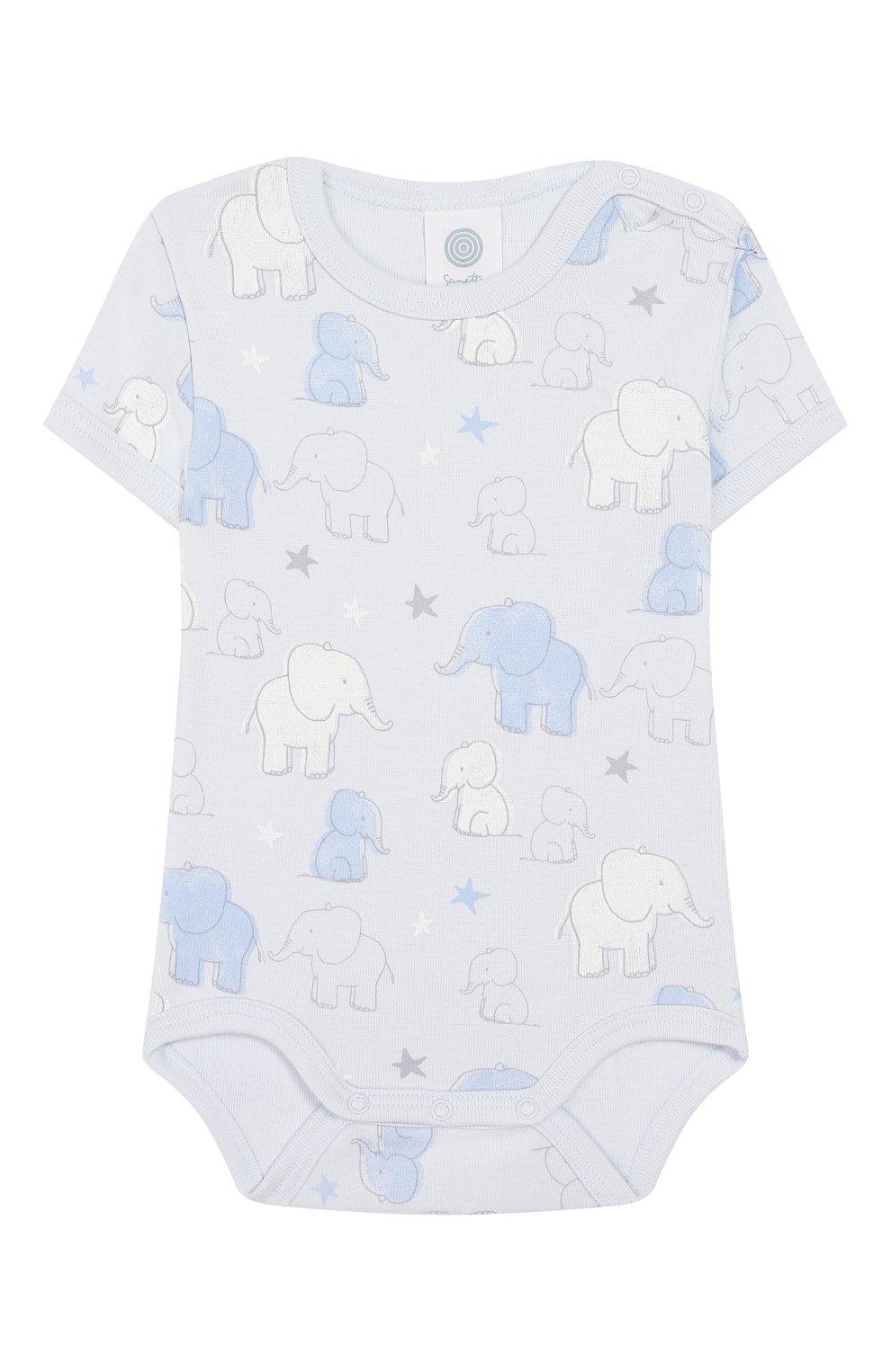 Детское хлопковое боди SANETTA голубого цвета, арт. 322882 50308 | Фото 1
