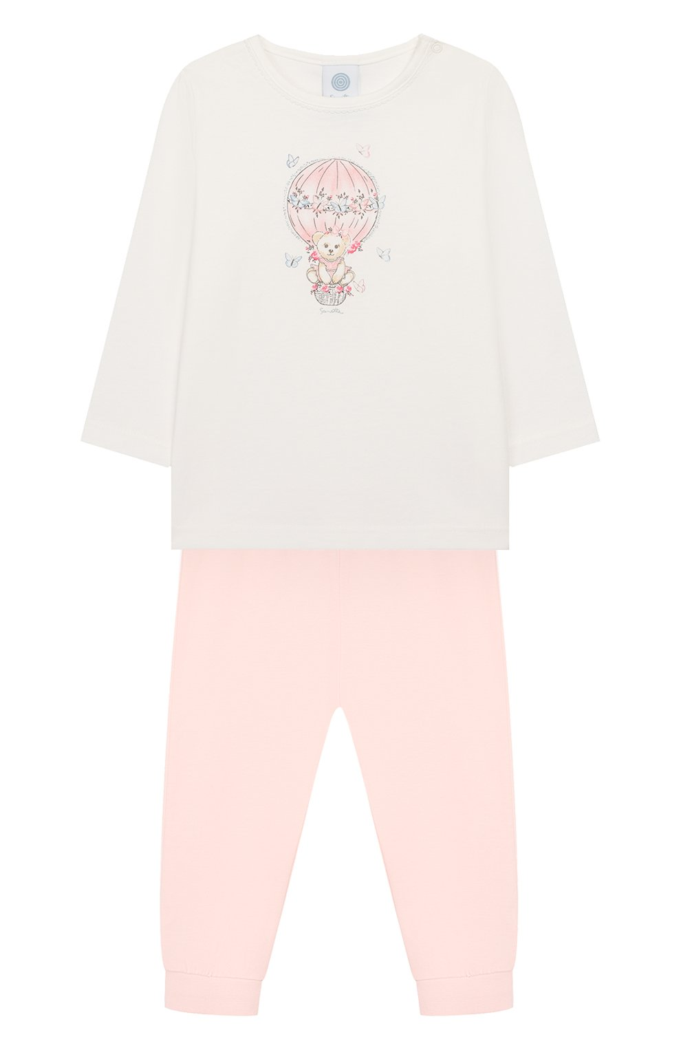 Детский хлопковая пижама SANETTA белого цвета, арт. 221522 1427 | Фото 1