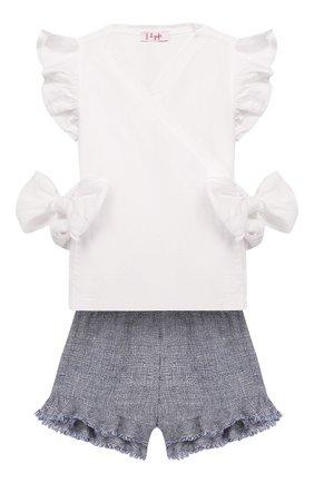 Детский комплект из топа и шорт IL GUFO голубого цвета, арт. P20DP325L0011/3M-9M | Фото 1