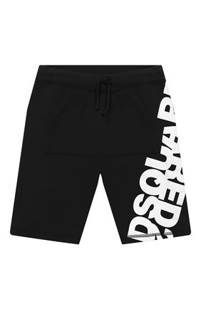 Детские хлопковые шорты DSQUARED2 черного цвета, арт. DQ0432-D00RG   Фото 1