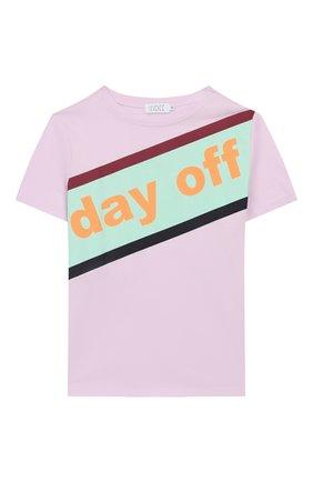 Детская хлопковая футболка INDEE светло-розового цвета, арт. GABY/DAY 0FF/BLUSH/12A-18A | Фото 1