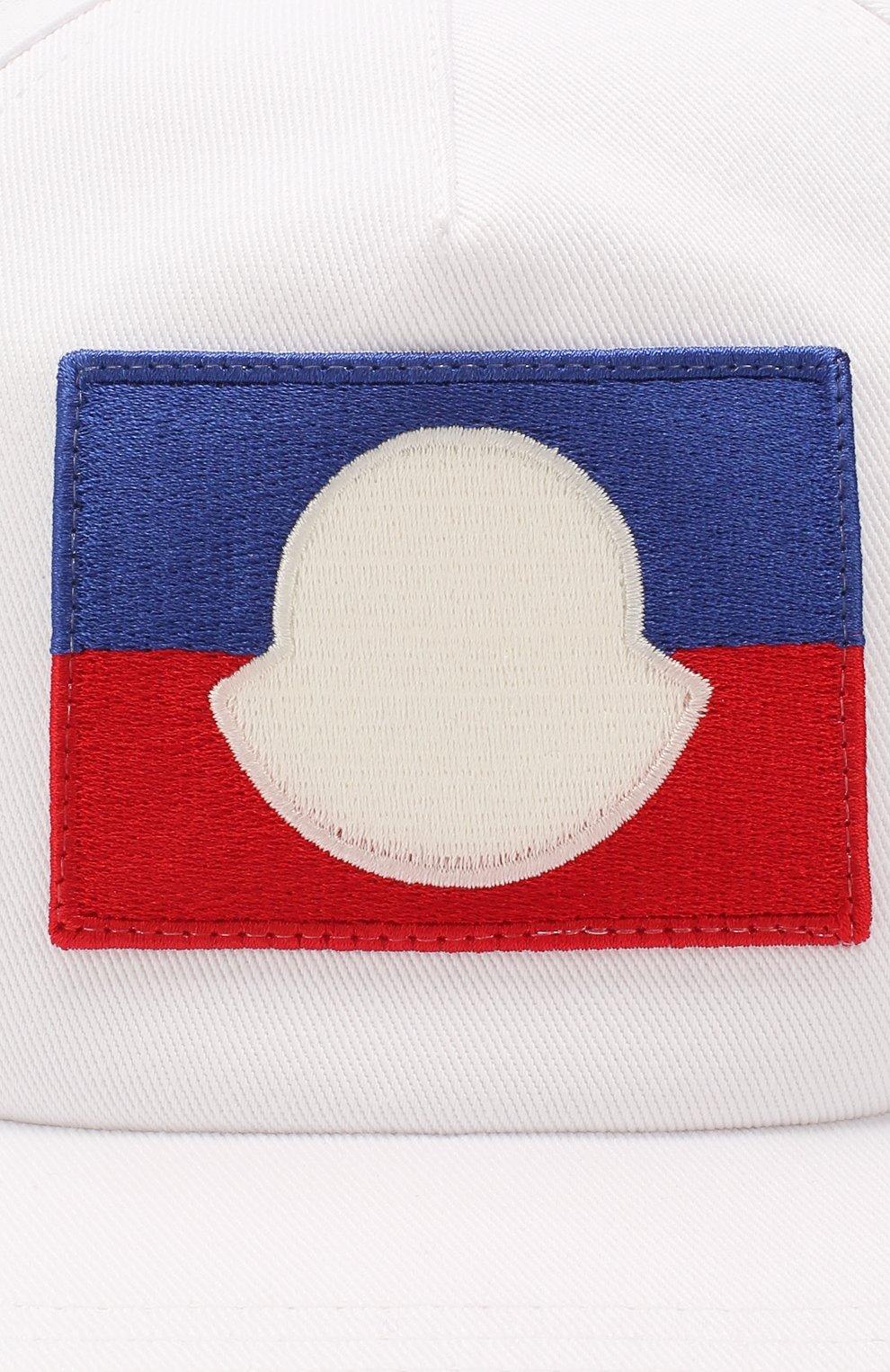 Детская хлопковая бейсболка MONCLER белого цвета, арт. F1-954-3B704-20-04863 | Фото 3