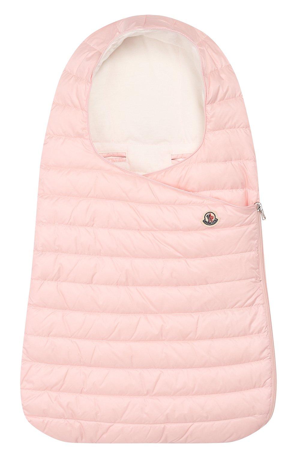 Детский пуховый конверт MONCLER розового цвета, арт. F1-951-1G701-00-C0401 | Фото 1