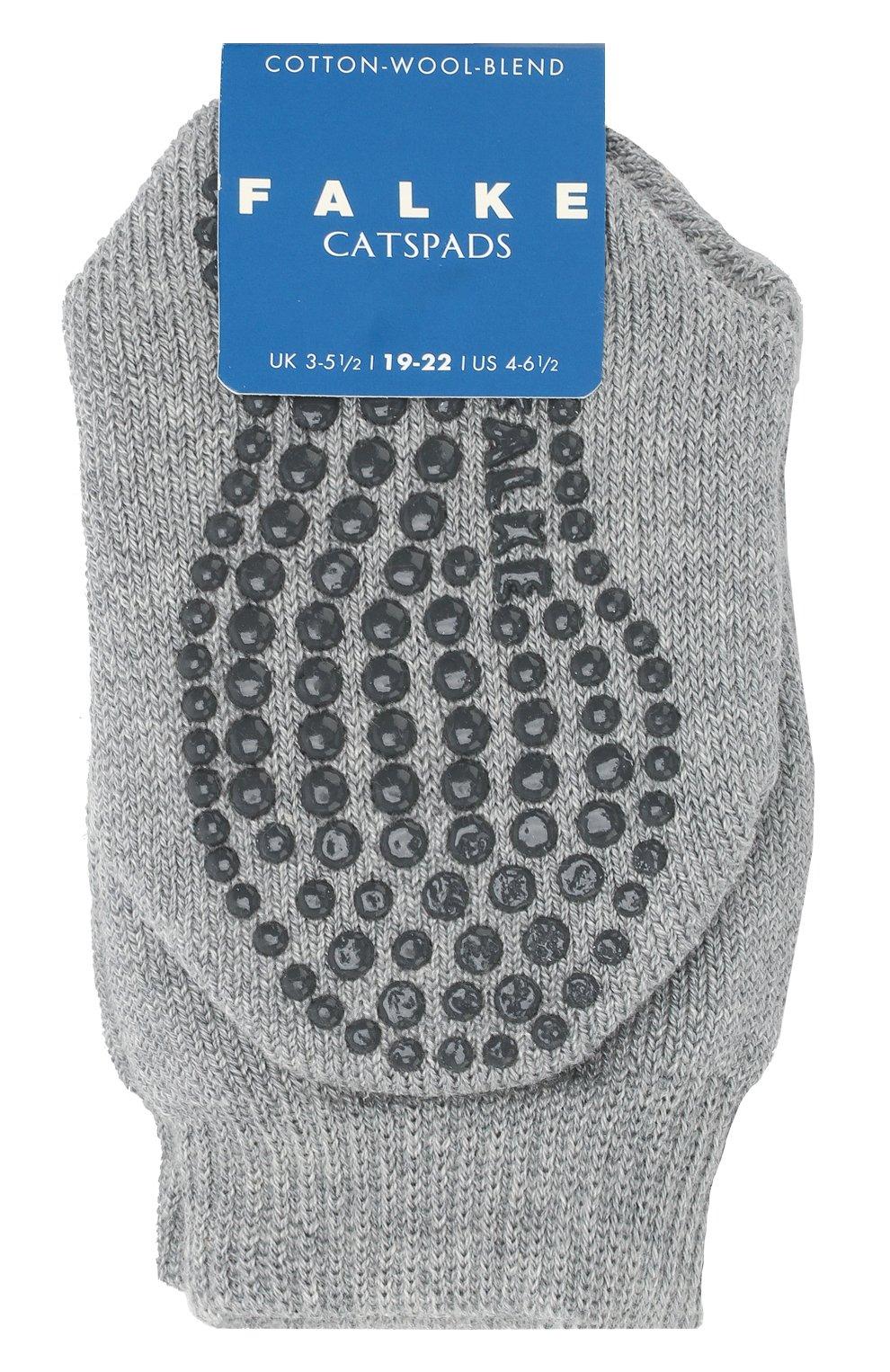 Детские носки из хлопка и шерсти FALKE серого цвета, арт. 10500 | Фото 1