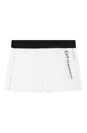 Детские хлопковые шорты EA 7 белого цвета, арт. 3HFS52/FJ31Z | Фото 1