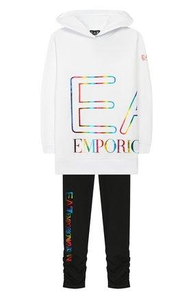 Детская комплект из свитшота и брюк EA 7 черно-белого цвета, арт. 3HFV56/FJ31Z | Фото 1