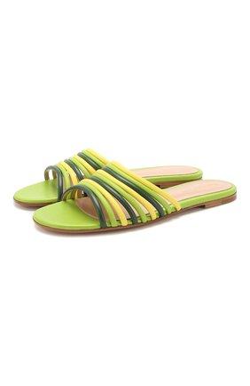 Женские кожаные шлепанцы GIANVITO ROSSI зеленого цвета, арт. G13320.05CU0.NAPMLEY | Фото 1