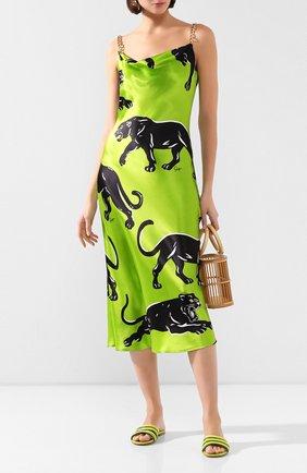 Женские кожаные шлепанцы GIANVITO ROSSI зеленого цвета, арт. G13320.05CU0.NAPMLEY | Фото 2
