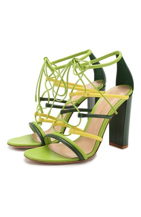 Женские кожаные босоножки GIANVITO ROSSI зеленого цвета, арт. G61505.15RIC.NAPMLEY | Фото 1