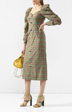 Женские кожаные босоножки GIANVITO ROSSI зеленого цвета, арт. G61505.15RIC.NAPMLEY | Фото 2