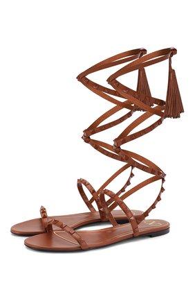 Женские кожаные сандалии valentino garavani rockstud flair VALENTINO коричневого цвета, арт. TW0S0X58/MLR   Фото 1