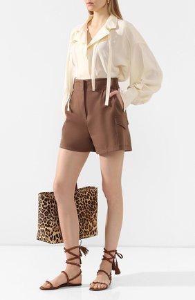 Женские кожаные сандалии valentino garavani rockstud flair VALENTINO коричневого цвета, арт. TW0S0X58/MLR   Фото 2