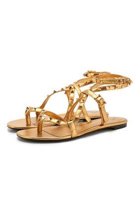 Женские кожаные сандалии valentino garavani rockstud flair VALENTINO золотого цвета, арт. TW0S0X47/DCB | Фото 1