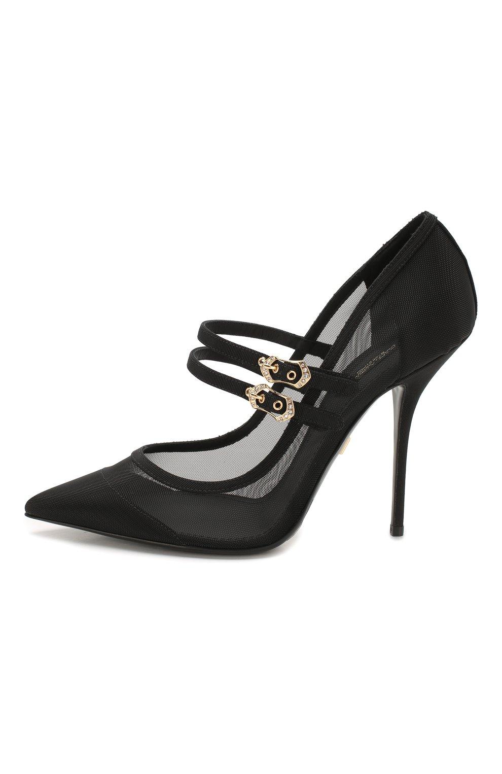 Женские текстильные туфли cardinale DOLCE & GABBANA черного цвета, арт. CD1516/AX975 | Фото 3
