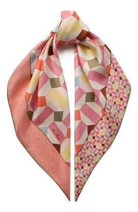 Женский шелковый платок zellige LORO PIANA розового цвета, арт. FAL1439 | Фото 1