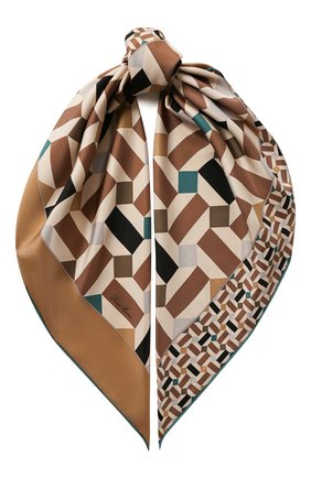 Женский шелковый платок zellige LORO PIANA коричневого цвета, арт. FAL1439 | Фото 1