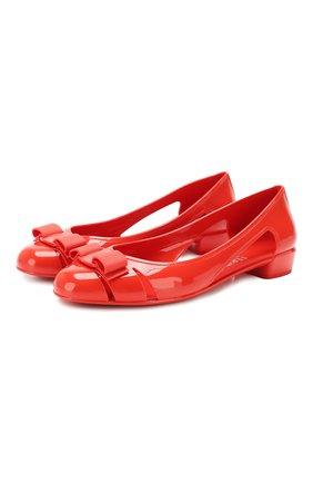 Женские балетки SALVATORE FERRAGAMO красного цвета, арт. Z-07263641C | Фото 1