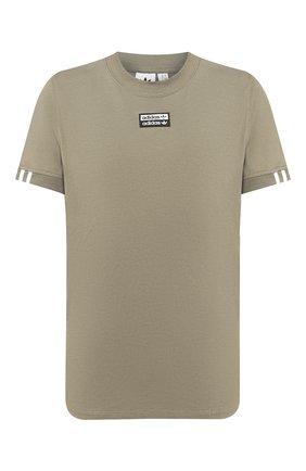 Женская хлопковая футболка ADIDAS ORIGINALS хаки цвета, арт. FM4882 | Фото 1