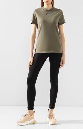 Женская хлопковая футболка ADIDAS ORIGINALS хаки цвета, арт. FM4882 | Фото 2