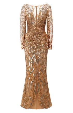 Женское платье-макси ZUHAIR MURAD золотого цвета, арт. DRR20037/EMSA003 | Фото 1